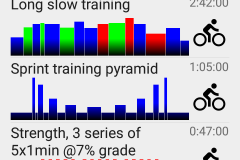 A typical workouts screen